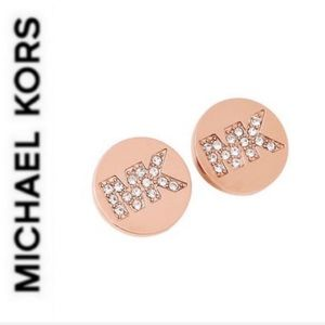 NWT authentic MK rose gold tone logo stud earrings